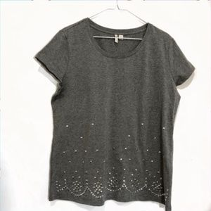 Cato Grey Studded Short Sleeve Top